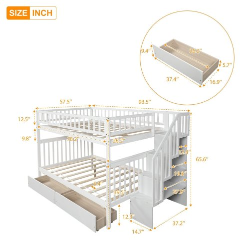 Full over full bunk bed with two drawers and storage 9