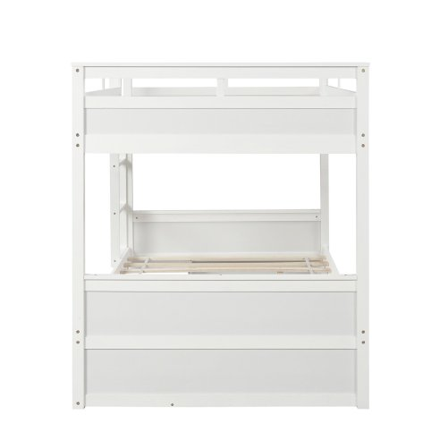 Twin over twin bunk bed, with two drawers and two storage, white 7