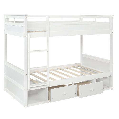 Twin over twin bunk bed, with two drawers and two storage, white 6