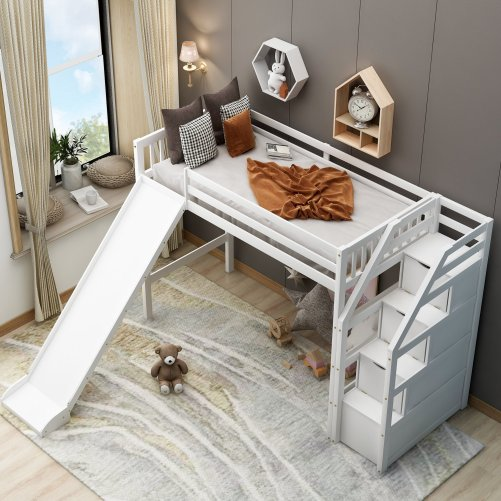 Twin size loft bed with storage and slide, white 2