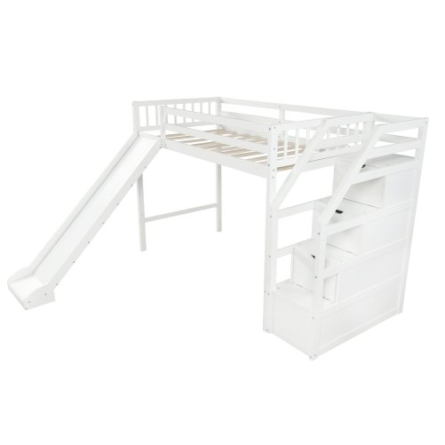 Twin size loft bed with storage and slide, white 6