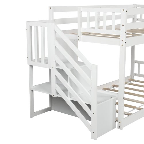 Twin over twin Floor Bunk Bed, Ladder with Storage 5