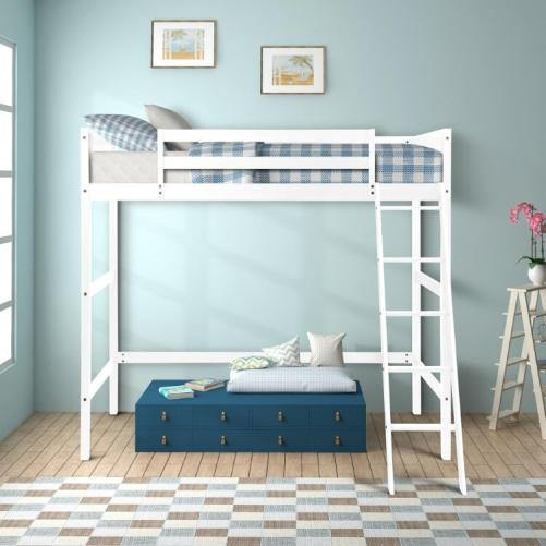 Solid Wood Twin Size Loft Bed Panel Style Loft Bed,Side Angled Ladder 13