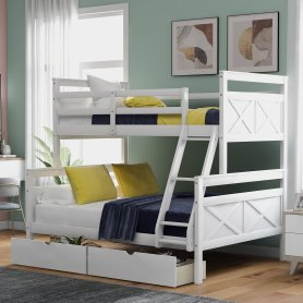 Twin over full bunk bed with ladder, two storage drawers, safety guardrail, white