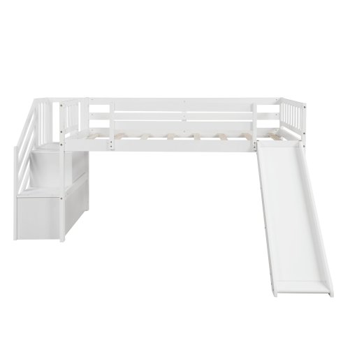 Twin size low loft bed with adjustable slide and staircase, white new, expected to arrive on july