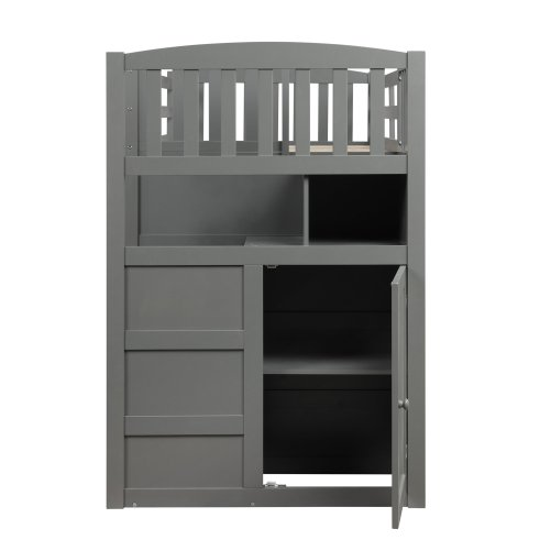Twin over full/twin bunk bed, convertible bottom bed, storage shelves and drawers, gray