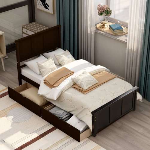 Platform Storage Bed, 2 Drawers With Wheels 2
