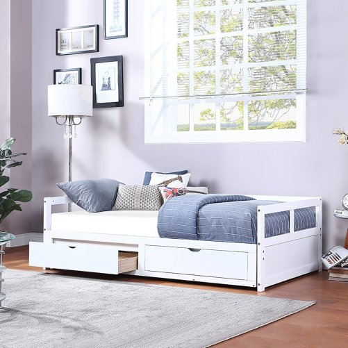 Wooden Daybed With Trundle Bed And Two Storage Drawers ,extendable Bed Daybed,sofa Bed For Bedroom Living Room,white