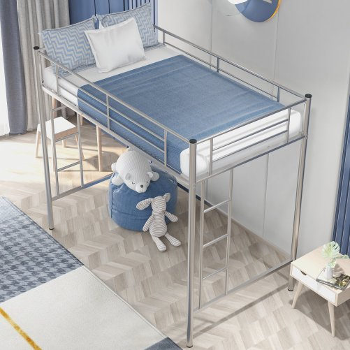 Twin Loft Bed With Sturdy Steel Frame, Guard Rail, Two-side Ladders 2