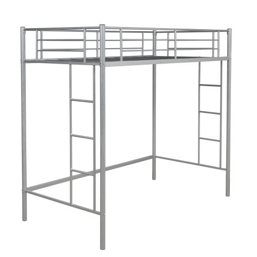 Twin Loft Bed With Sturdy Steel Frame, Guard Rail, Two-side Ladders 5