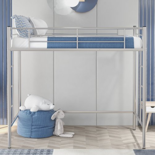 Twin Loft Bed With Sturdy Steel Frame, Guard Rail, Two-side Ladders 3