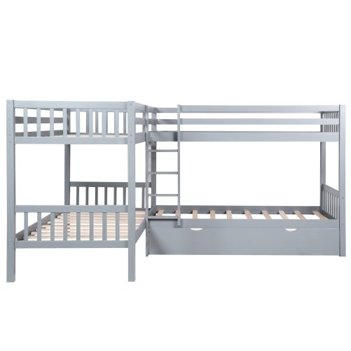 Twin L-Shaped Bunk Bed With Drawers