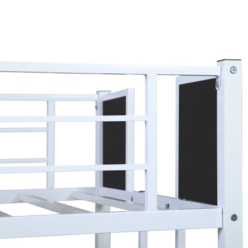 Twin-over-Twin Bunk Bed Steel Frame With Safety Rail, Built-in Ladder