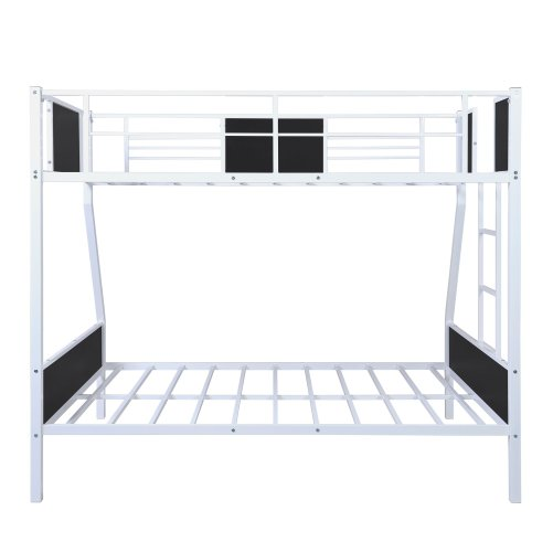 Twin-over-full Modern Style Steel Frame Bunk Bed With Safety Rail, Built-in Ladder