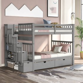 Full over Full Bunk Bed With Shelves And 6 Storage Drawers