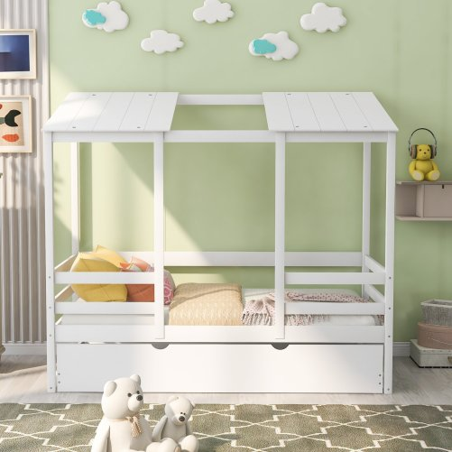 Kids Beach House Bed With Trundle, Twin Size