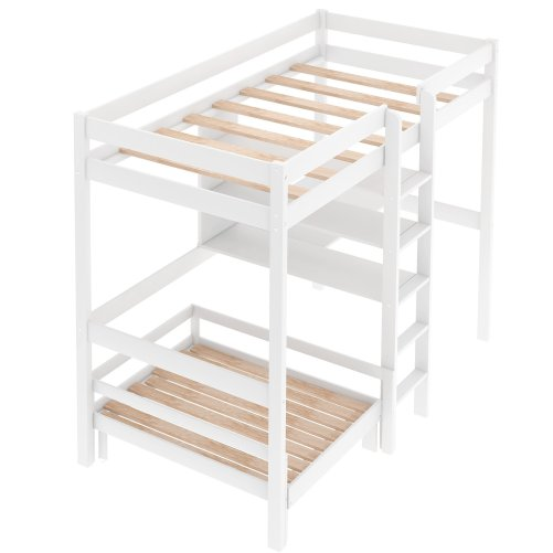 Convertible Twin Loft Bed With L-Shape Desk, Shelves And Ladde