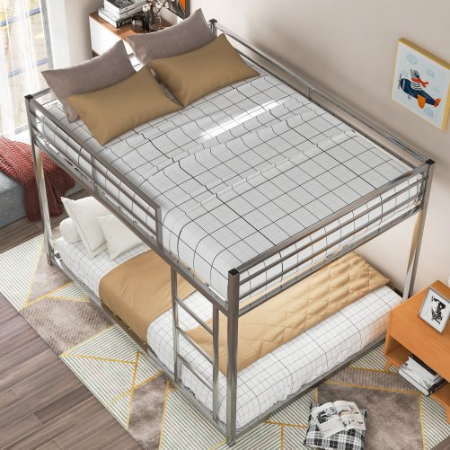 Full Over Full Metal Low Bunk Bed With Ladder
