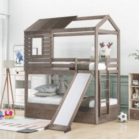 Twin Over Twin House-shaped Wood Bunk Bed With Two Storage Drawers And Slide