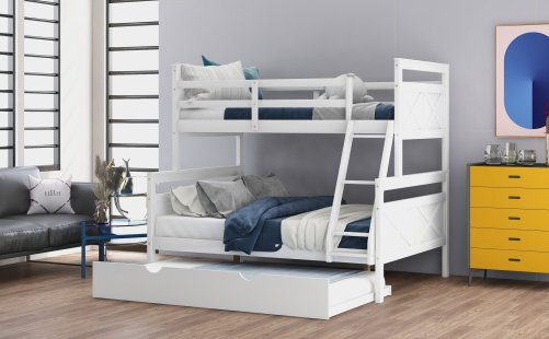 Twin Over Full Bunk Bed With Ladder, Twin Size Trundle, Safety Guardrail