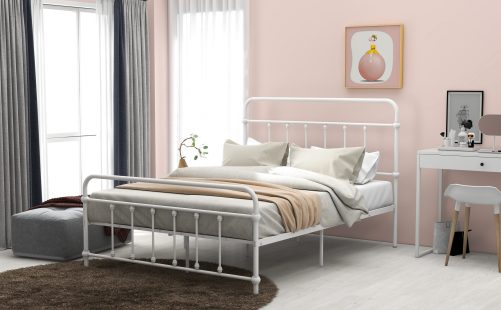 Full Size Metal Platform Bed With Headboard And Footboard, Iron Bed Frame For Bedroom, No Box Spring Needed ,white