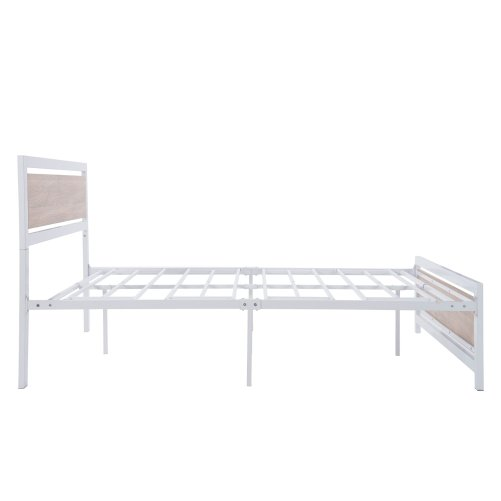 Full Size Metal And Wood Platform Bed With Headboard And Footboard