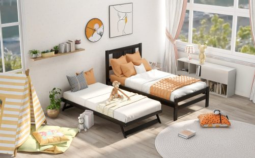 Twin Size Platform Bed With Adjustable Trundle