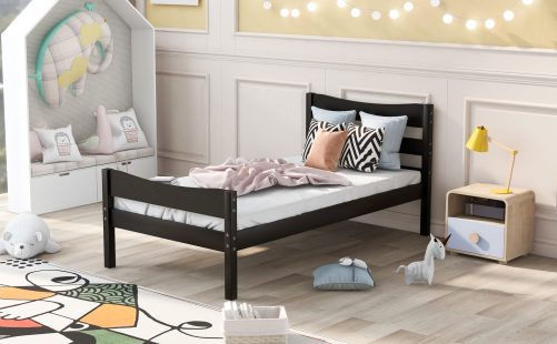 Twin Size Wood Platform Bed With Headboard And Wooden Slat Support