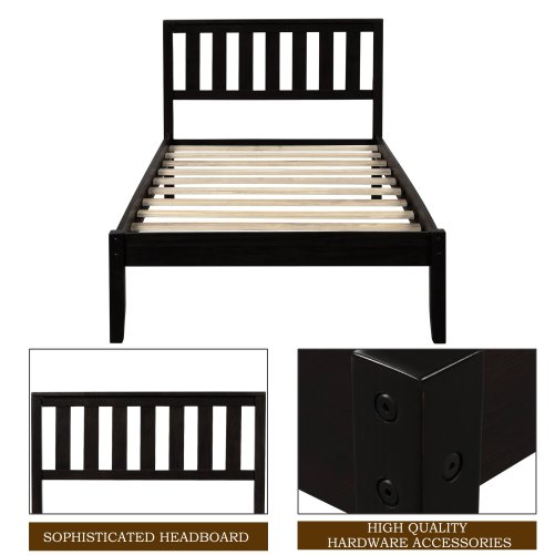 Twin Size Wood Platform Bed With Headboard And Slat