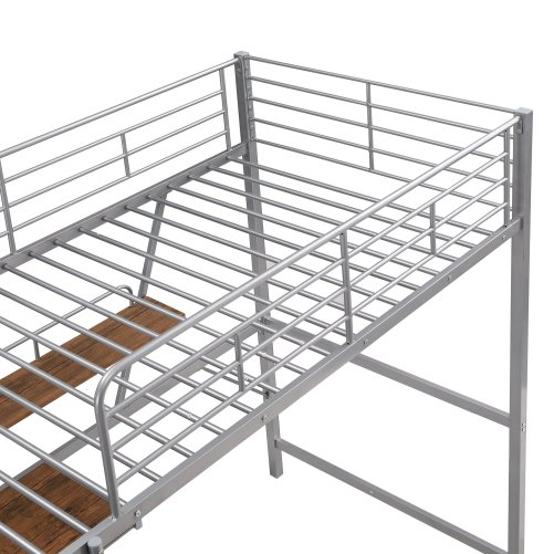Metal Loft Bed With L-Shaped Desk And Shelf 6