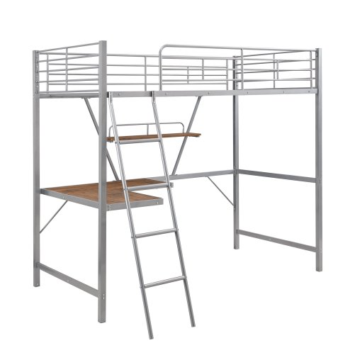 Metal Loft Bed With L-Shaped Desk And Shelf 4