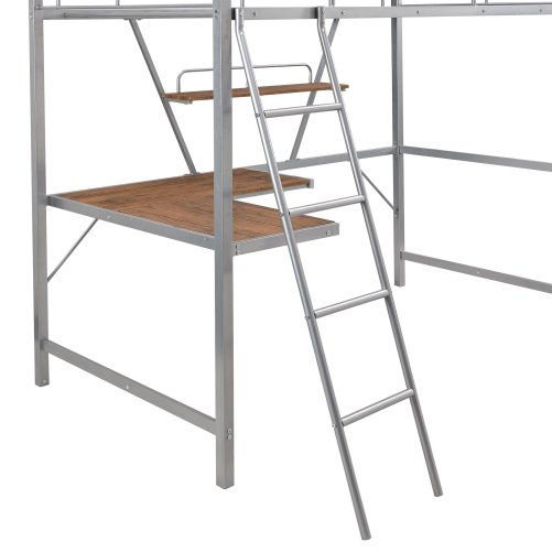 Metal Loft Bed With L-Shaped Desk And Shelf 3