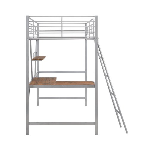 Metal Loft Bed With L-Shaped Desk And Shelf 2