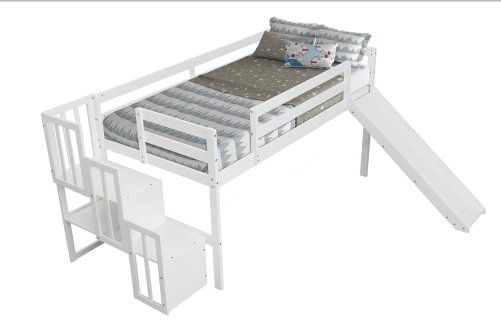 Loft Bed With Stair Case, Slide
