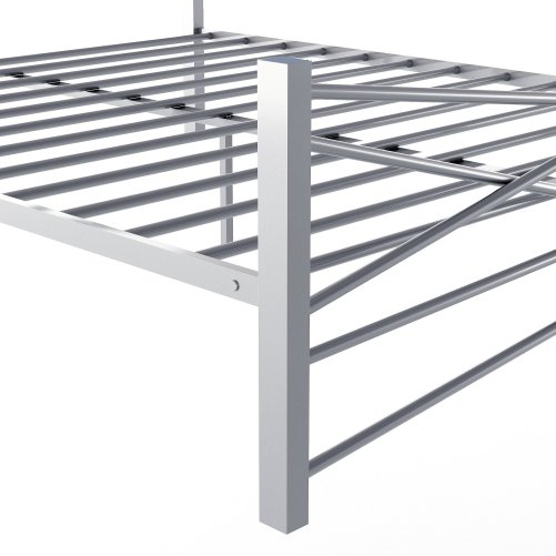 Metal Bed Frame With Headboard, No Box Spring Needed Platform Bed, Under-bed Storage, Victorian Vintage Style, Silver