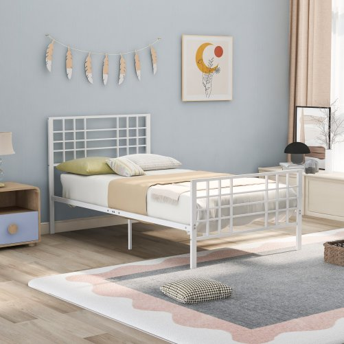Notallowebsp;toselltowalmartblack Metal Bed Frame Twin Size With Headboard And Footboard Single Platform Mattress Base,metal Tube And Iron-art Bed, Twin