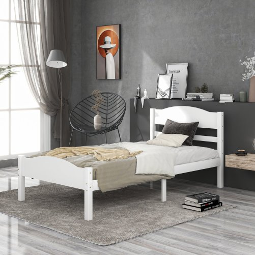 Twin Size Platform Bed With Horizontal Strip Hollow Shape
