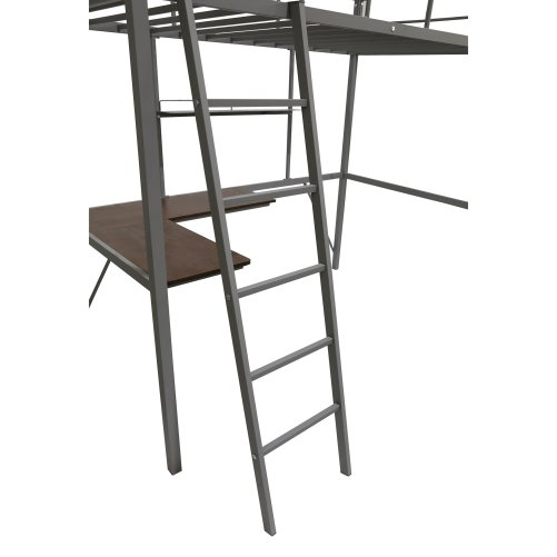 Metal Twin Loft Bed With Desk And Shelf