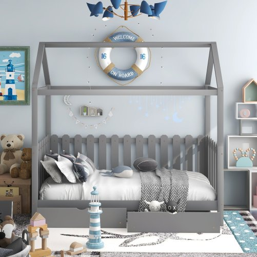Twin Size House Bed With Drawers, Fence-Shaped Guardrail
