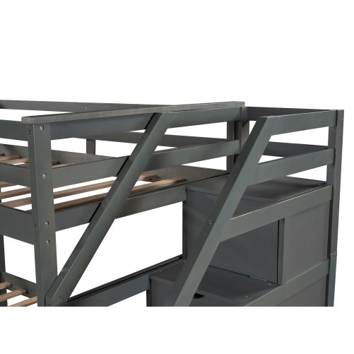 Twin Over Twin Bunk Bed With Twin Size Trundle And 3 Storage Stairs