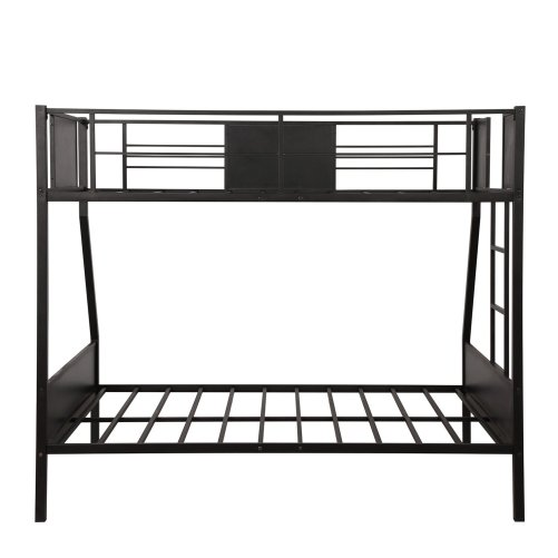 Twin-over-full bunk bed modern style steel frame bunk bed with safety rail, built-in ladder for bedroom, dorm, boys, girls, adults 4