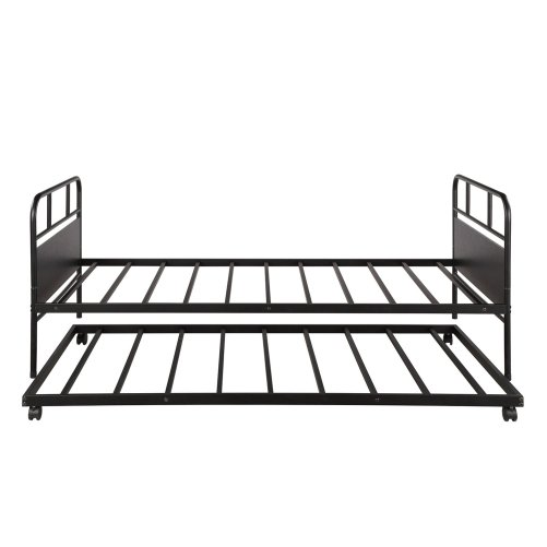 Metal Daybed Platform Bed Frame with Trundle Built-in Casters, Twin Size 7