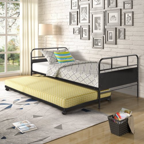 Metal Daybed Platform Bed Frame with Trundle Built-in Casters, Twin Size 1