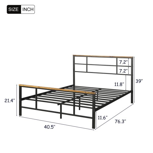 Metal Bed With Wood Decoration(Twin Size) 7