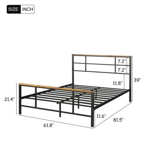 Metal bed with wood decoration(Queen size) 8