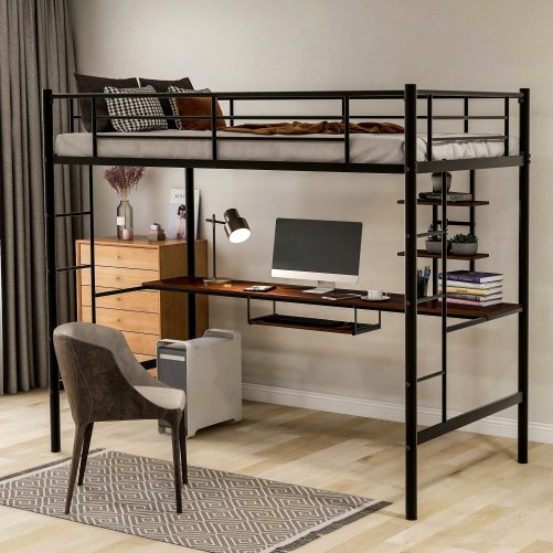 Loft bed with Dsek and Shelf , Space Saving Design 12