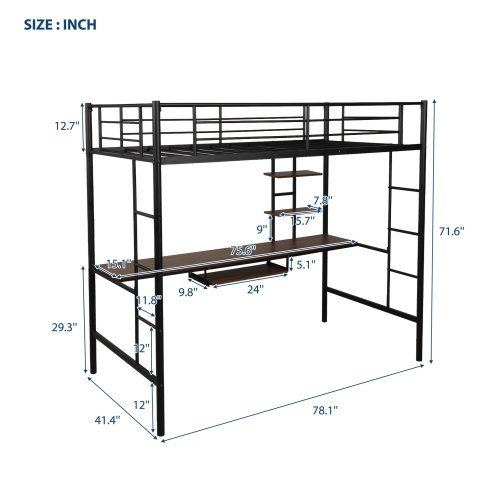 Loft bed with Dsek and Shelf , Space Saving Design 10