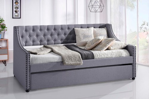 Daybed with Trundle Upholstered Tufted Sofa Bed -- Twin Size, Beige 3