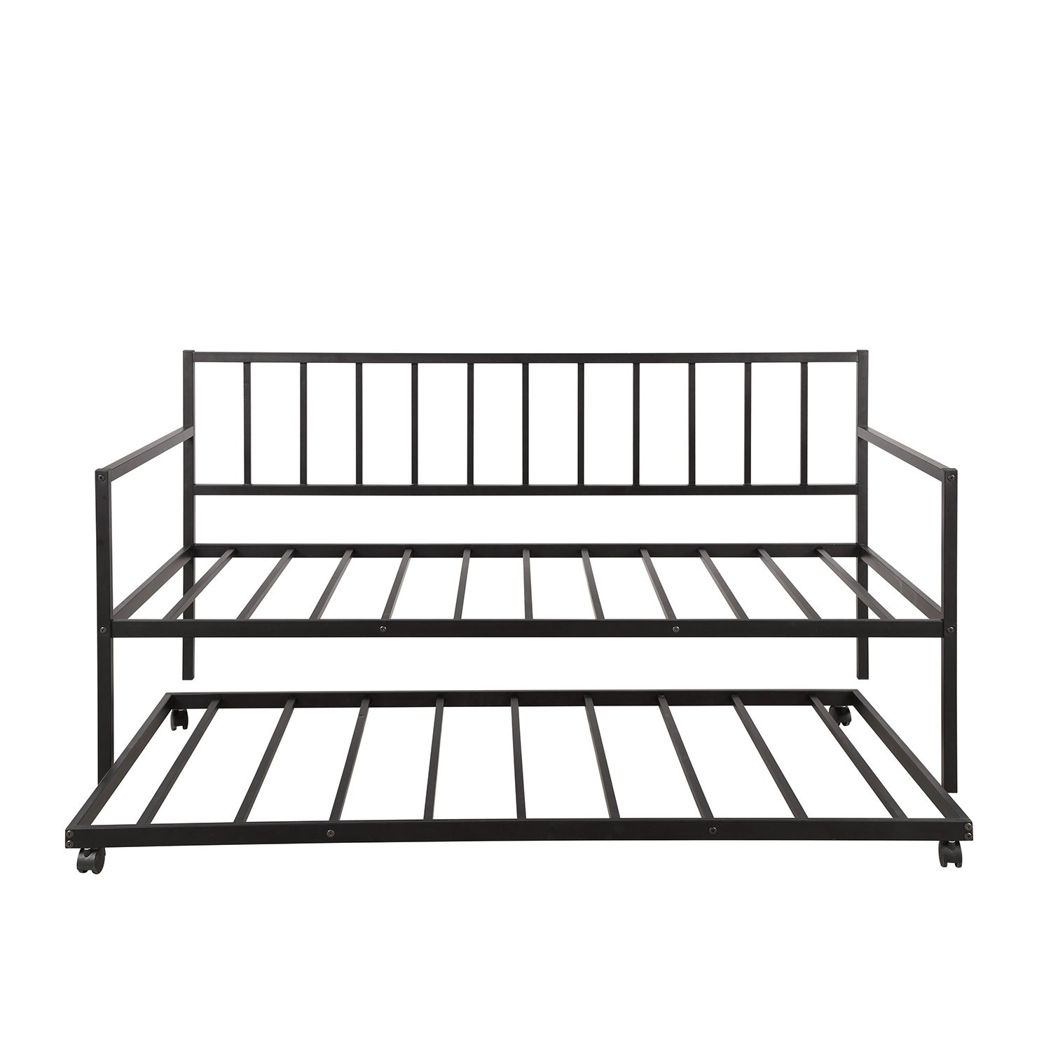 Twin Daybed With Trundle Multifunctional Metal Lounge