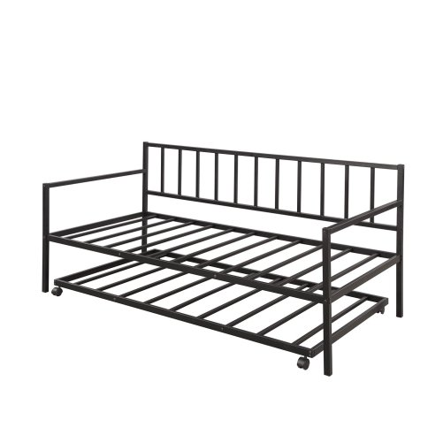 Twin Daybed with Trundle Multifunctional Metal Lounge Daybed Frame for Living Room Guest Room 2